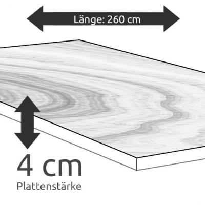 Tischplatte Eiche Länge 260 x Breite 100 cm / Stärke 4 cm